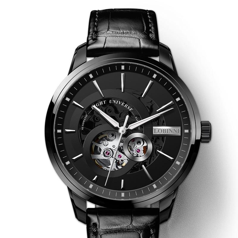 Reloj Automático de lujo Lobinni para hombre, relojes de pulsera mecánicos para hombre, de piel zafiro, resistente al agua, de 50m, reloj para hombre
