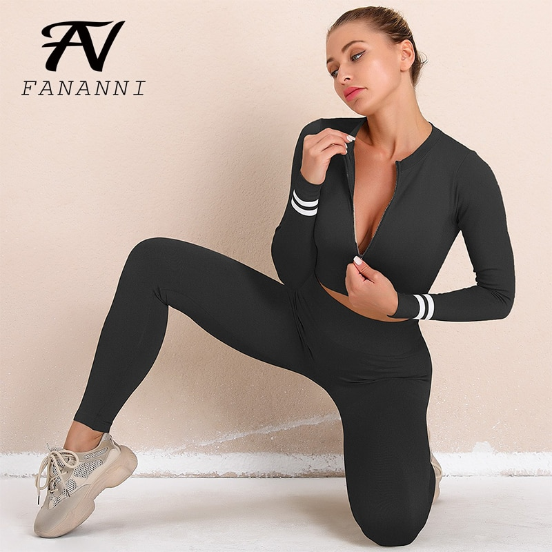 Long-Sleeved Zipper Yoga Sports Suit Women'S Tight-Fitting Running Trousers Two-Piece Fitness Suit