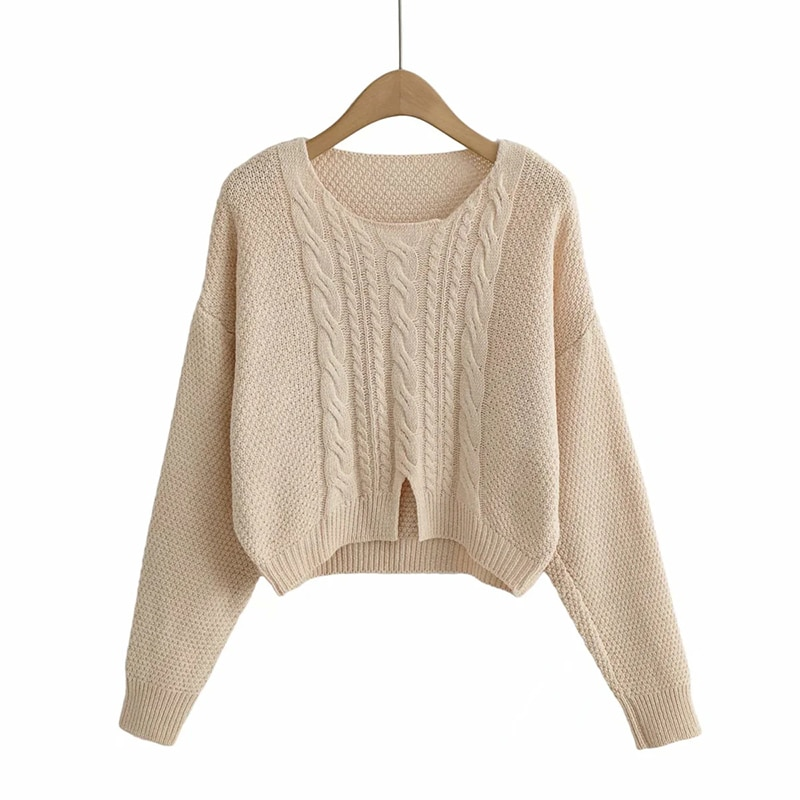 2021 Autumn Winter vintage Sweaters Twisted Knitted Pullovers Women Long Sleeve Short Ladies Sweater Tops Casual Jumpers Mujer