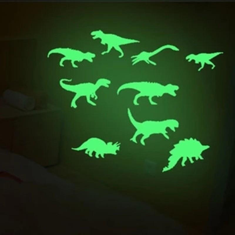 Pegatinas de dinosaurios 9 uds que brillan en la oscuridad 1 Juego de calcomanía para techo chico habitación pegatinas de decoración divertida
