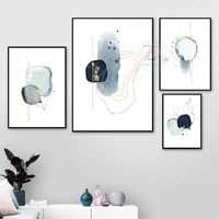modern abstract blue sketch simple gold line painting poster canvas printing picture wall art home decoration and room decor