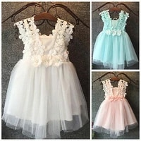 aa baby girl princess dress new arrival fashion party pearl lace tulle flower dresses backless gown fancy girls vestidos 2 7y