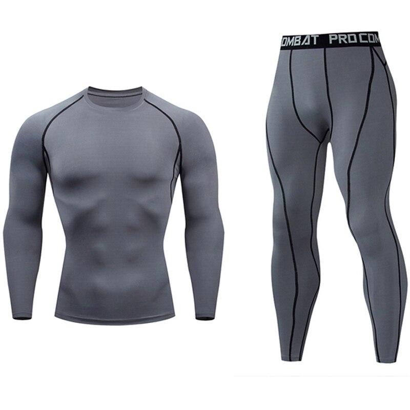 Ropa interior térmica de talla grande para hombre Camiseta de compresión + Leggings Top para Fitness hombres chándal ropa interior térmica Base