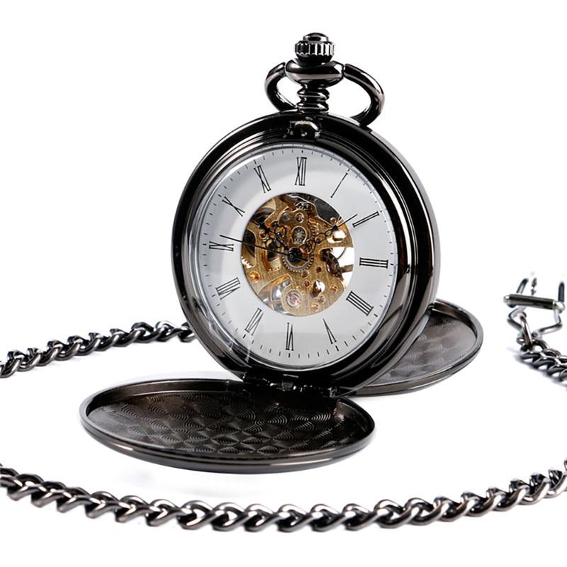Antique Full Black Smooth Case Unisex Pocket Watch Skeleton Handwind Mechanical Clock Double Hunter Pendant Chain Roman Number