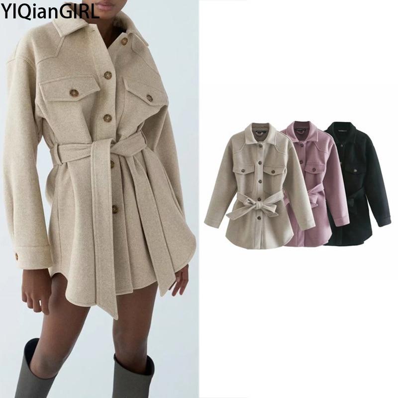Zar Women 2020 Fashion With Belt Loose Woolen Jacket Coat Vintage Long Sleeve Winter Coat Elegant Fe