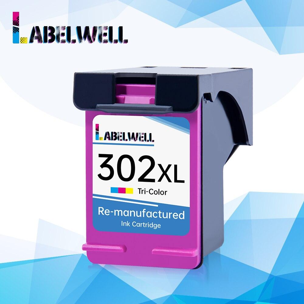 Labelwell 302XL cartucho de tinta tricolor para impresora HP hp302 302 xl Deskjet 2130 2135 1110 3630 3632 Officejet 3830 3834 4650