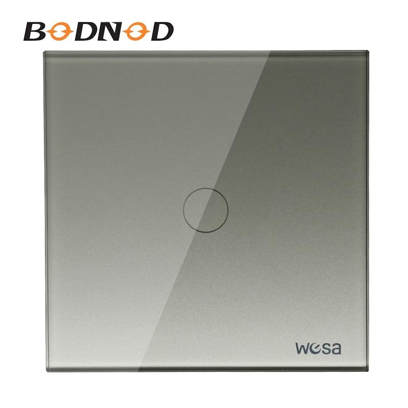 New EU Standard Switch Wall Touch Switch Luxury Grey Crystal Glass, 1 Gang 1 Way Touch Switch CMW-01
