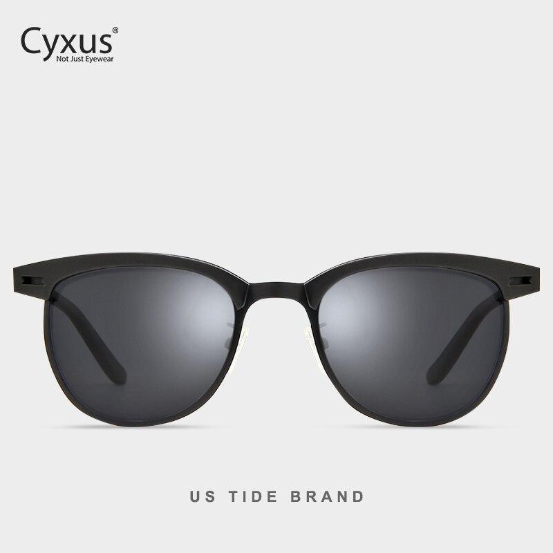 Cyxus gafas de sol polarizadas de moda para mujeres/hombres gafas Retro de medio borde UV400 gafas 1911
