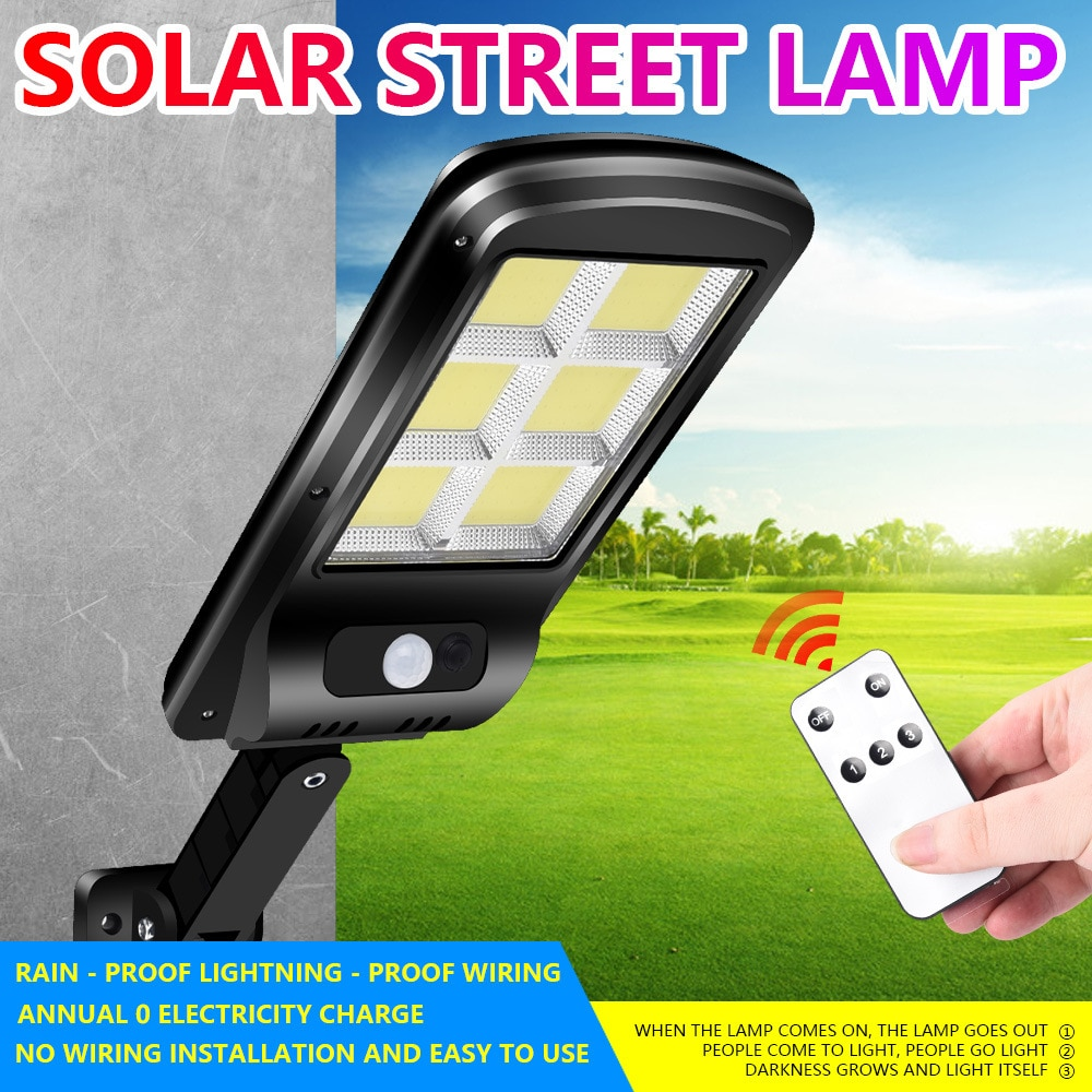ultra Big 128 COB Solar Light PIR Motion Sensor Garden Wall outdoor Solar street lamp Waterproof Lamp Smart Remote Control Lamp