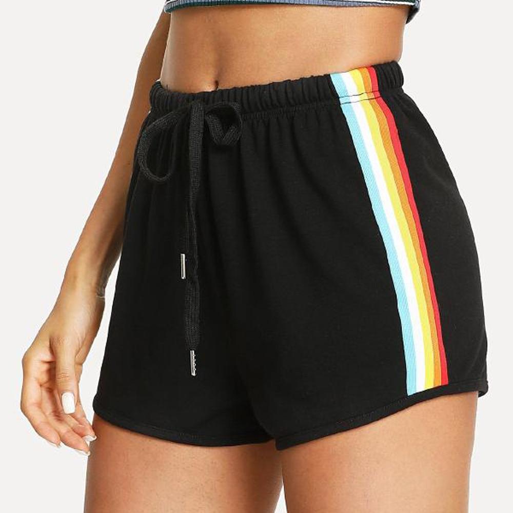 Pantalones cortos sexys y finos de verano, mallas para mujer, pantalones cortos deportivos con estampado de arco iris, pantalones cortos elásticos para playa LY