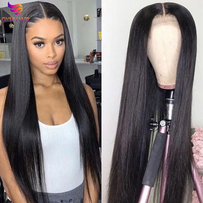 Lace Front Human Hair Wigs Straight Hair Wig 13X4 Transparent Lace Frontal Wigs Pre Plucked Brazilia