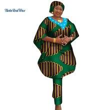 Vêtements africains Robe et pantalons femmes africaines 2 pièces pantalons ensembles Bazin Riche vêtements africains imprimer perle chemise et pantalon WY3760