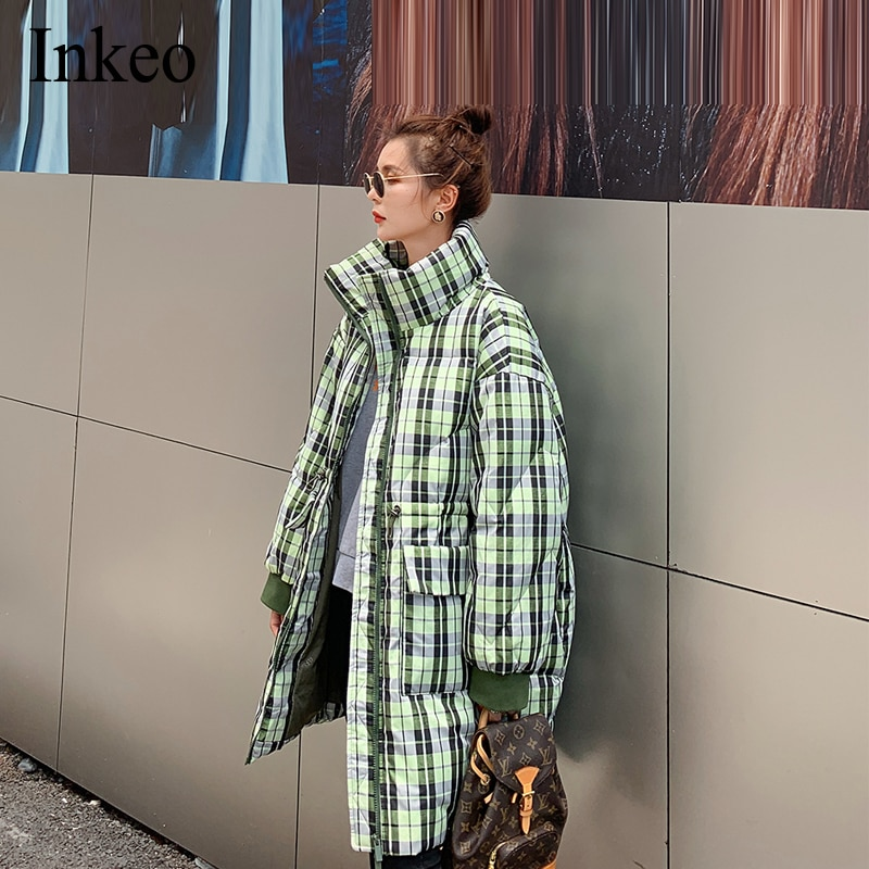 Winter Thick warm Women Plaid Coat Fashion Oversized Loose Stand Collar Female Jacket Long  Outerwear Cotton Parka INKEO 9O066