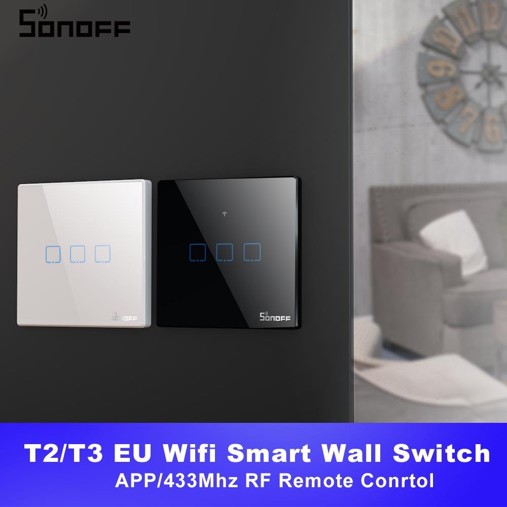 Itead SONOFF TX T2/T3 UE wifi inteligente pared interruptor de luz táctil hogar inteligente 1/2/3 banda 433 RF/voz/APP/touch Control con Alexa.
