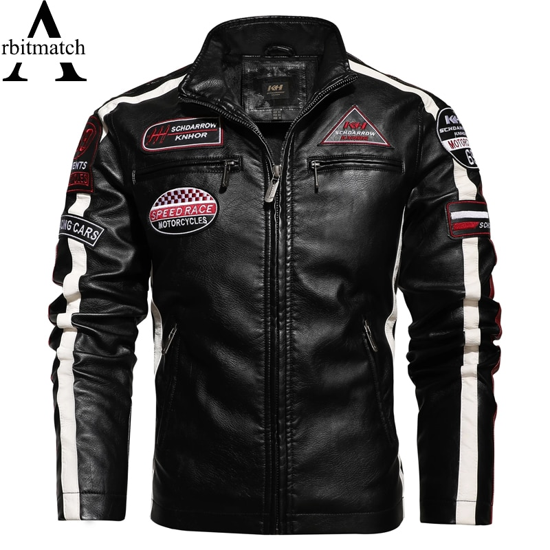 Arbitmatch الرجال سترة جلدية الشتاء الصوف معطف الرجال قاطرة السائق المتسابق بولي Leather الجلود يندبروف خياطة التطريز سترة