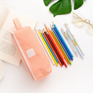 New high quality pen bag creative canvas large capacity pen bag double layer simple multi-function pure color small fresh