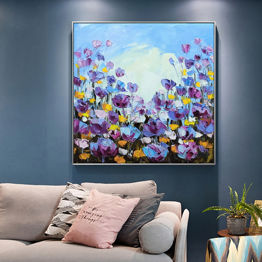Abstract Flowers Artwork Hand Painted Oil Painting Tulips Modern Oil Painting On Canvas Handmade Living Room Bedroom Decoration high quality cheap price 100% handmade abstract sexy woman back oil painting on canvas for home living room decoration