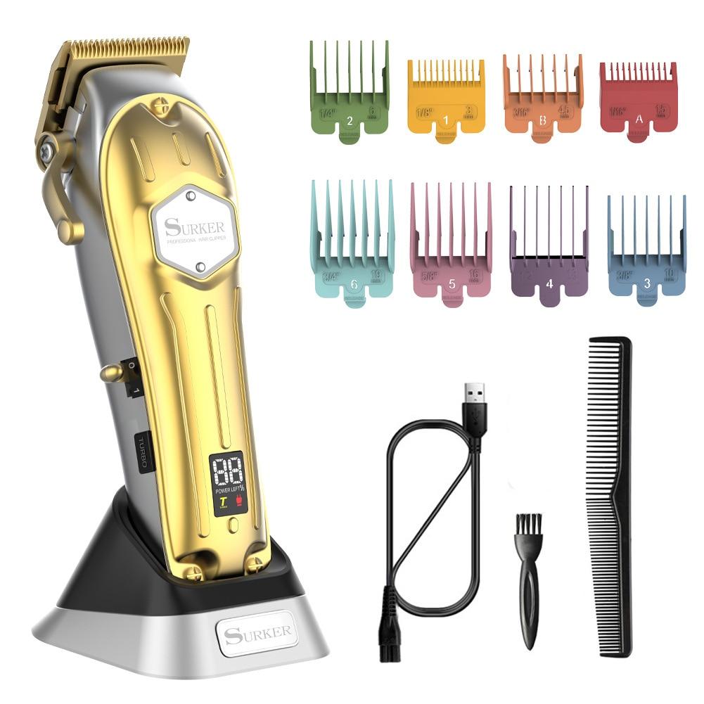 Surker الكهربائية الشعر المتقلب USB قابلة للشحن مقص الشعر LCD آلة حلاقة أداة تهذيب اللحية النفط رئيس المقص نحت الشعر الأبيض