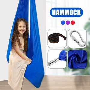 Kids Indoor Outdoor Swing Autism Aspergers Sensory Cuddle Children Elastic Hanging Hammock H88F