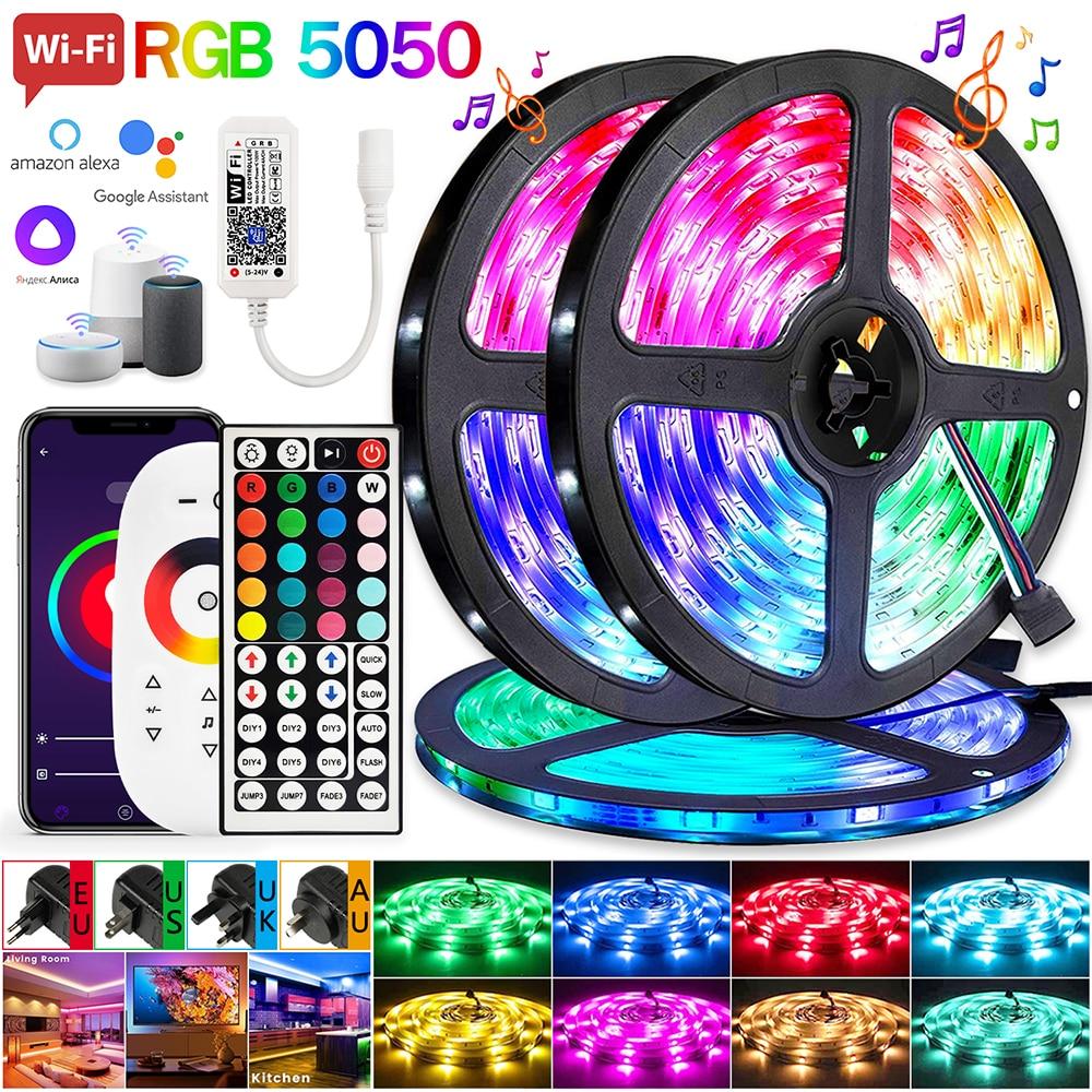 strisce-led-bluetooth-alexa-voice-control-luces-rgb-5050-12v-nastro-flessibile-lampada-smart-luz-per-festival-fita-home-tira-decor