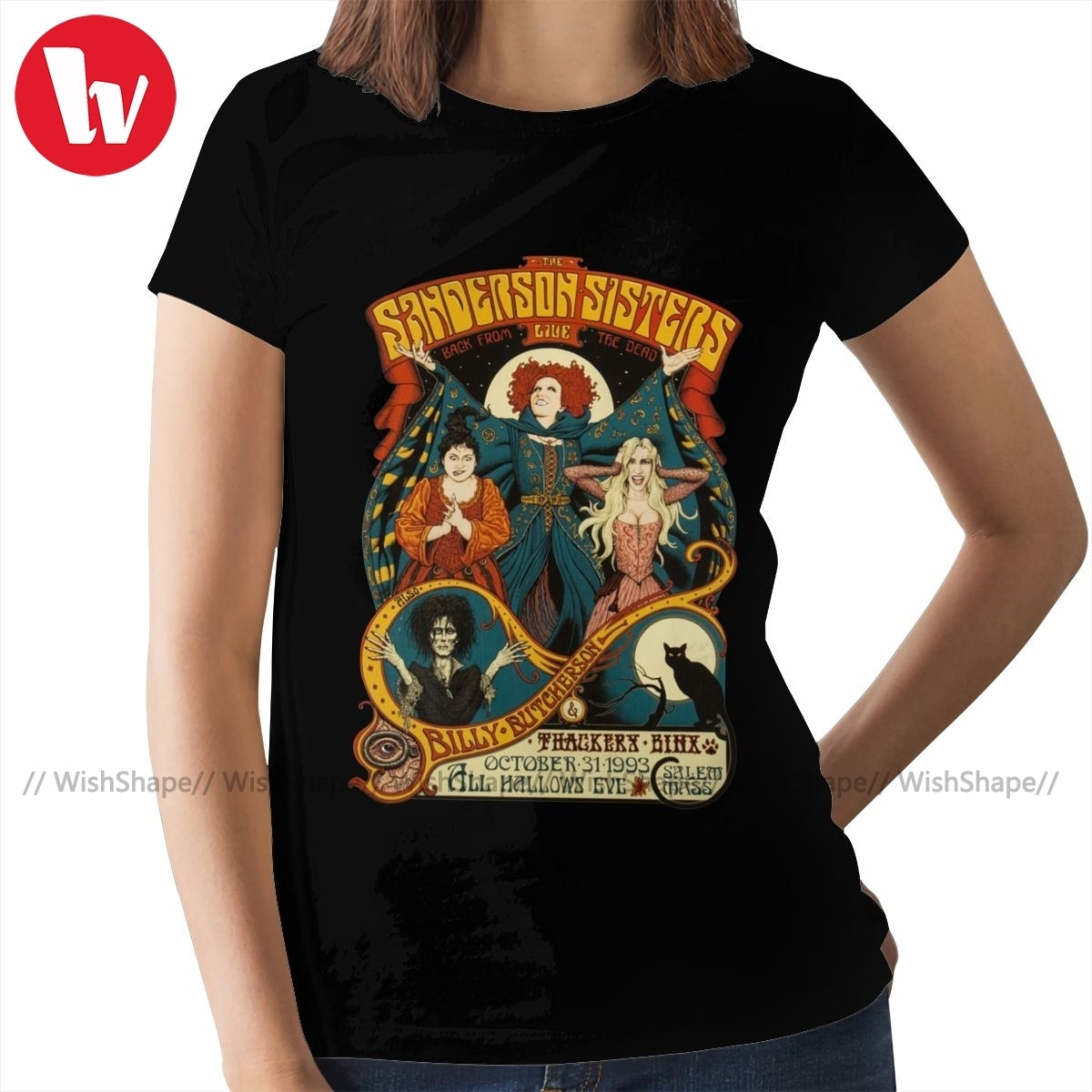 Hocus camiseta con diseño de Pocus Sanderson Sisters Halloween camiseta gráfica de la Marina de Guerra de las mujeres camiseta 100 algodón señoras camiseta