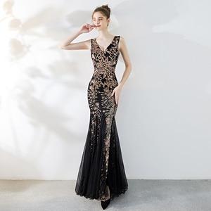 Evening Dresses V-neck Black Tulle Golden Sequins Pattern Mermaid Floor-length Plus size Zipper Customized Formal Dress R1152