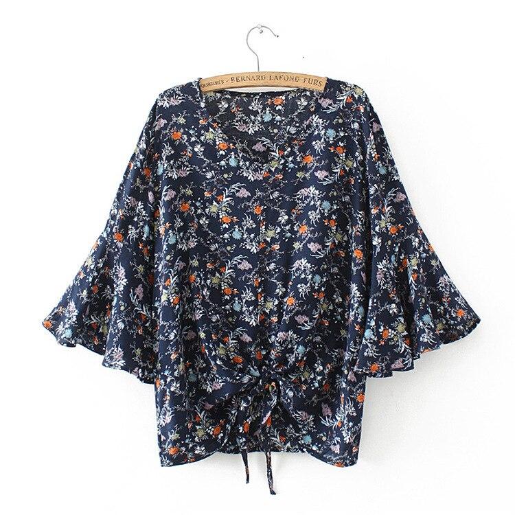 Talla grande bloemenprint losse vrouwen zomer blusa nieuwe dames flare mouw Camisetas Mujer v-hals negro y oscuro gris tops