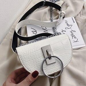 Crocodile Semicircle Saddle Bags For Women 2020 Crossbody Bag PU Leather Shoulder Bags for female Handbags designer bolsas
