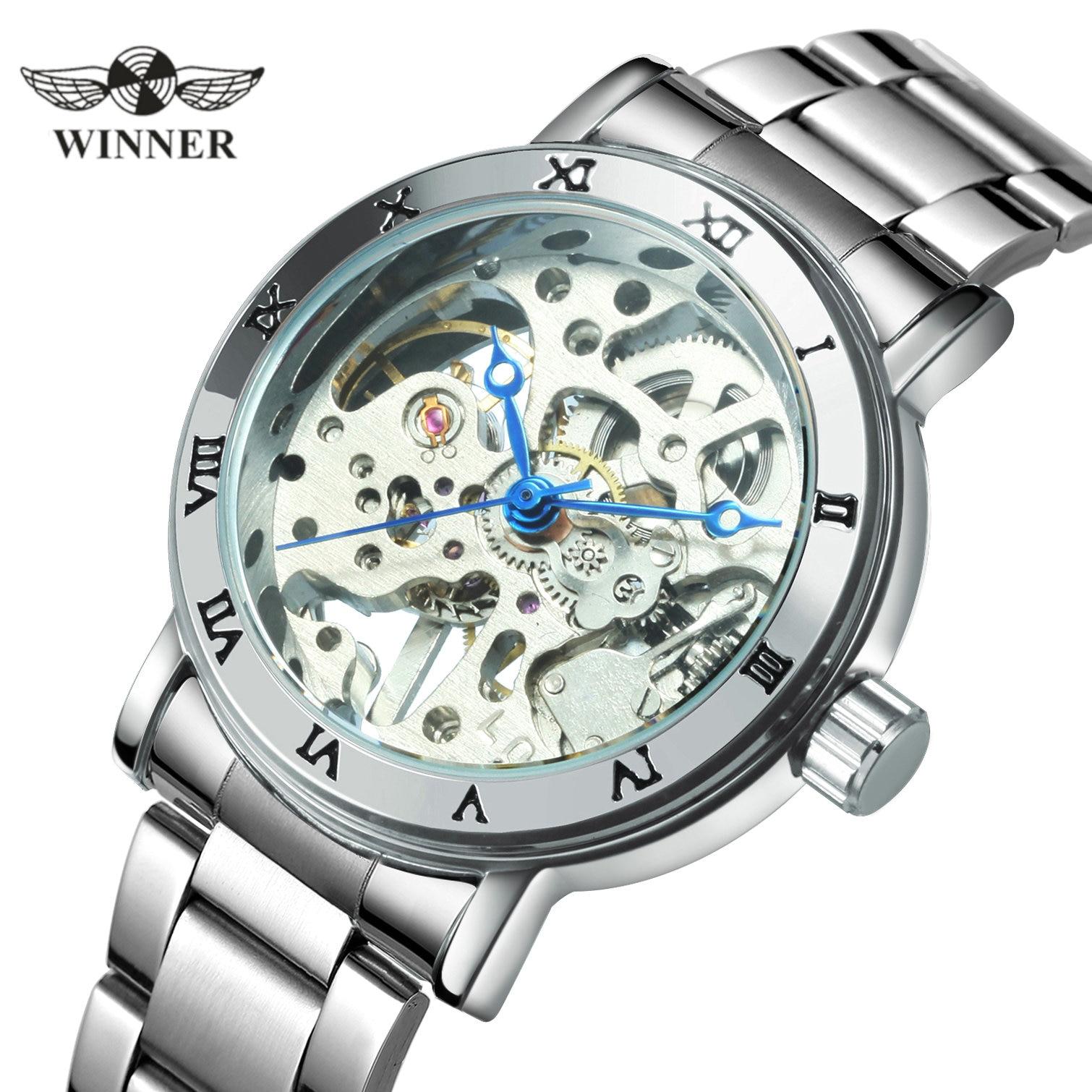 WINNER-relojes oficiales para mujer, reloj mecánico de esqueleto de lujo, reloj sencillo informal con correa de acero, reloj de pulsera elegante para mujer