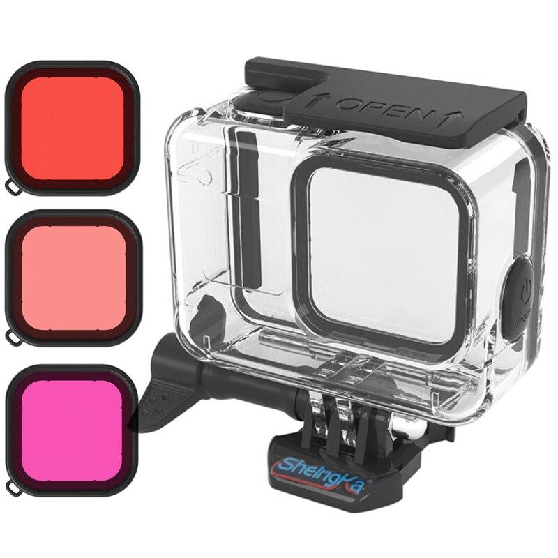 De goma suave clave impermeable carcasa Shell para GoPro héroe 8 Cámara funda protectora filtros para Gopro8 negro