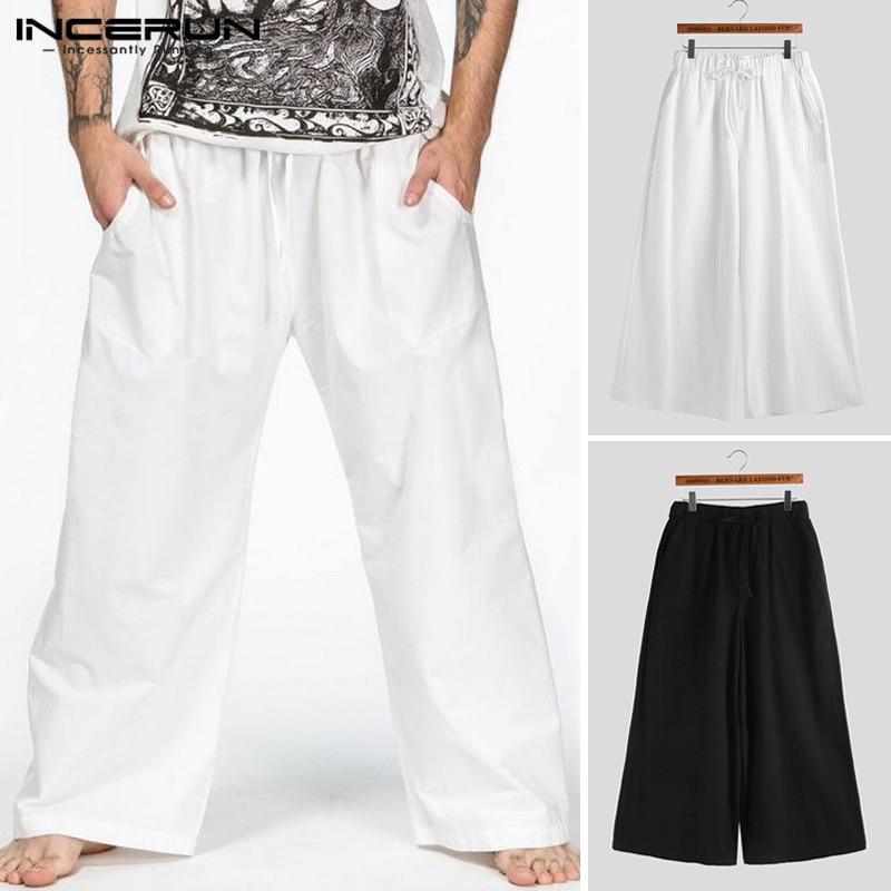 INCERUN Männer Hosen Elastische Taille Jogger Einfarbig Baumwolle Lose Mode Streetwear Workout Freizeit Hosen Männer Breite Bein Hosen