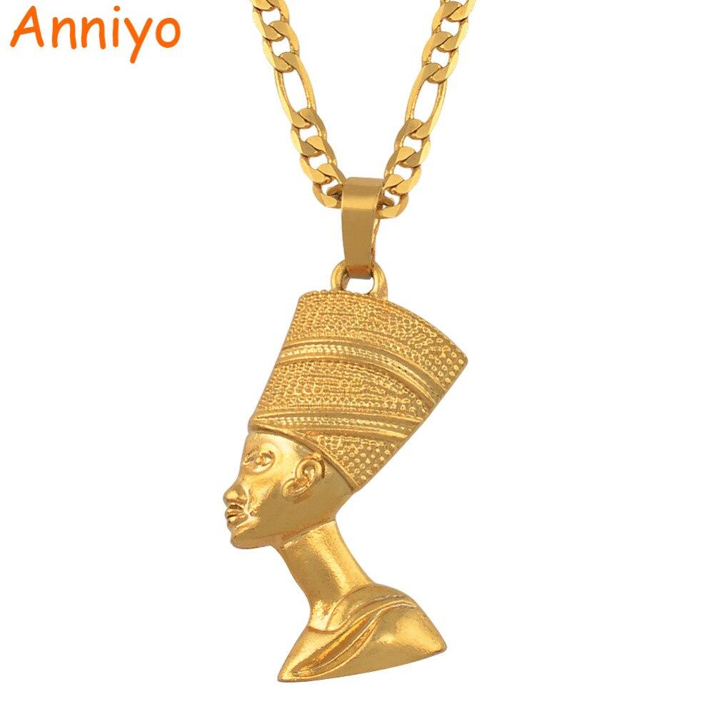 Anniyo египетская Королева Нефертити кулон ожерелья для женщин мужчин ювелирные изделия золотой цвет оптовая торговля ювелирные изделия Африканский подарок #163506