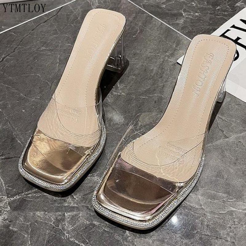 Zapatillas De PVC transparentes para mujer, zapatos De tacón alto con punta...