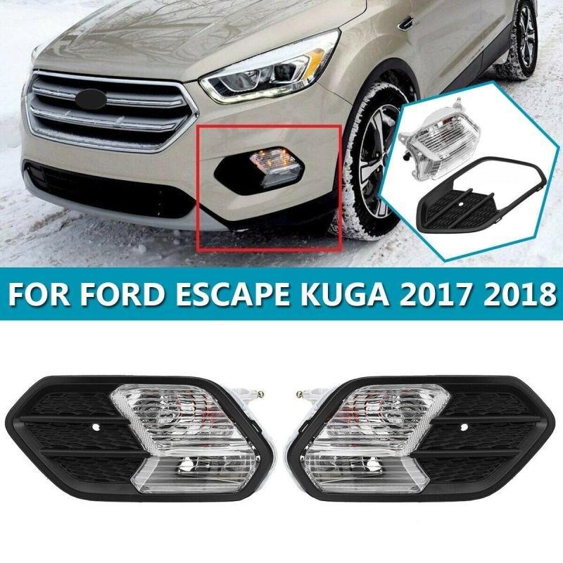 Frente de izquierda y derecha luz antiniebla de coche para Ford Escape Kuga 2017 2018 parachoques delantero parrilla luz antiniebla de conducción de la cubierta para los coches