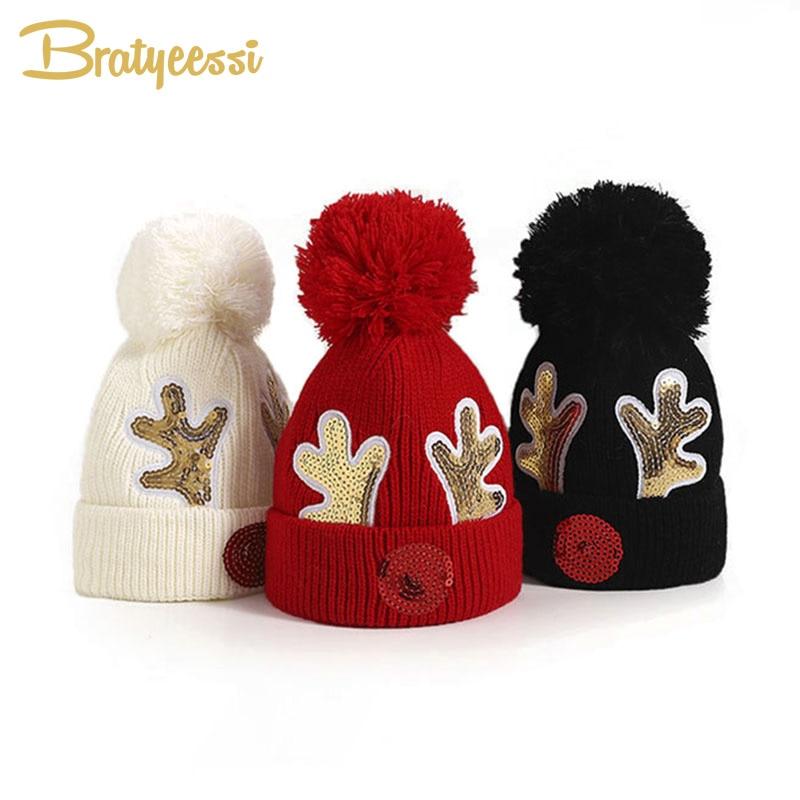 Новая детская зимняя шапка, вязаные рождественские шапки, детские шапки, шапки для детей, шапки с помпоном, облегающие шапочки, аксессуары д...