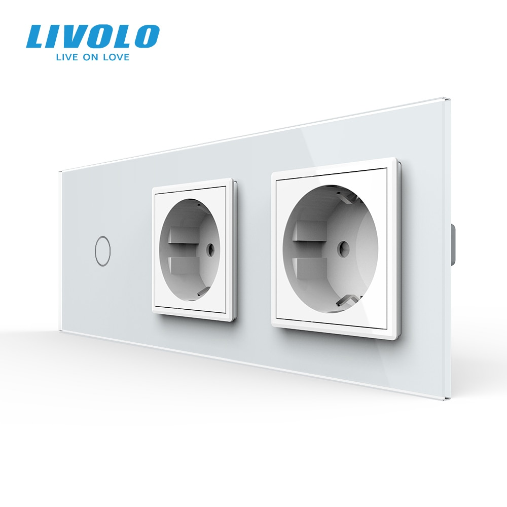 Livolo EU Standard New Power Socket, AC 220~250V,Crystal Glass Outlet Panel, 2Gang Wall Sockets with Touch Switch,no logo