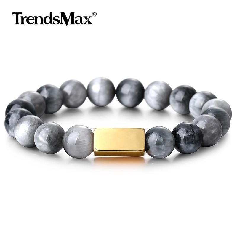 Piedra Natural 10mm pulsera elástica de cuentas Lava piedra águila Ojo de Tigre aceite esencial para hombres mujeres PZ016