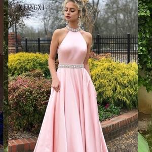 2020 BacklakeGirls Sexy licou cou dos nu robe de soirée femmes sans manches cristal Satin robe abend kleid robe de bal longue