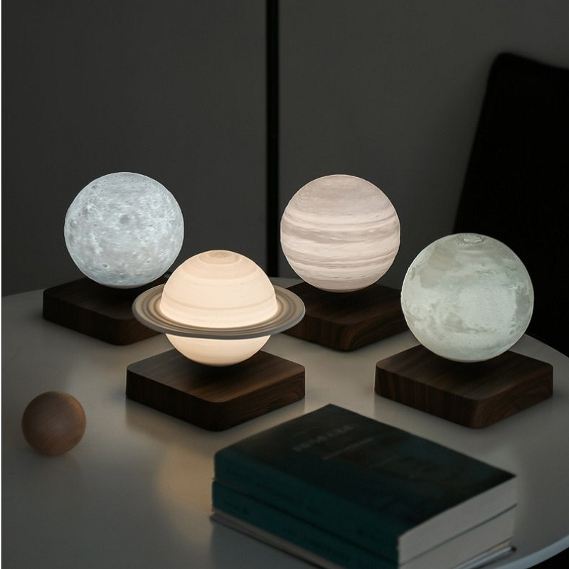 Night Light Creative 3D Magnetic Levitation Moon Lamp Rotating Christmas Led Floating Moon Light Home Decoration Holiday Gift
