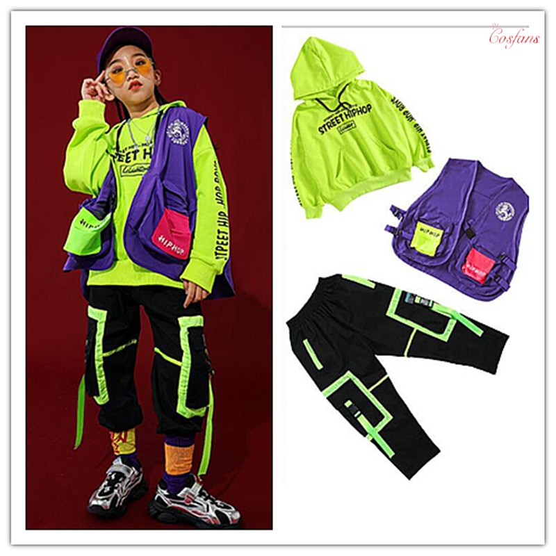 Ropa de baile de salón para niños, ropa de Hip Hop, pantalones con capucha, Ropa de baile para niñas y niños, Ropa de baile de salón, ropa de calle