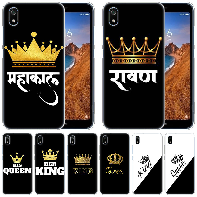 Funda de silicona suave de lujo corona Rey reina Princesa para Xiaomi Redmi K20 Pro 7 7A 6 6A 4X5 más S2 ir Nota 8 7 6 5 4 Pro