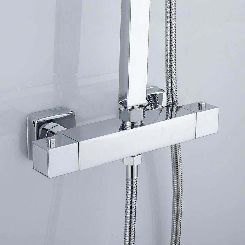 Grifo de ducha de baño grifos termostáticos válvula mezcladora montada en la pared grifo doble salida Control de temperatura ducha de lluvia para Baño
