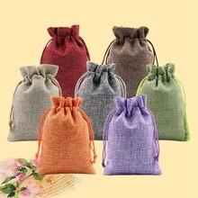 10 pièces/ensemble cordon lin cosmétique sac Mini couleur unie pochette Sachet cadeau sac pour bijoux mariage choses fête stockage
