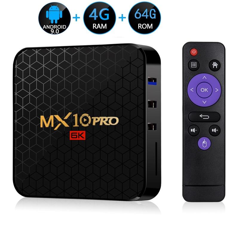 Android 9,0 ТВ приставка MX10 PRO 4 ГБ ОЗУ 64 Гб Wifi Allwinner H6 четырехъядерный USB 3,0 6K Google плеер Youtube Tanix телеприставка