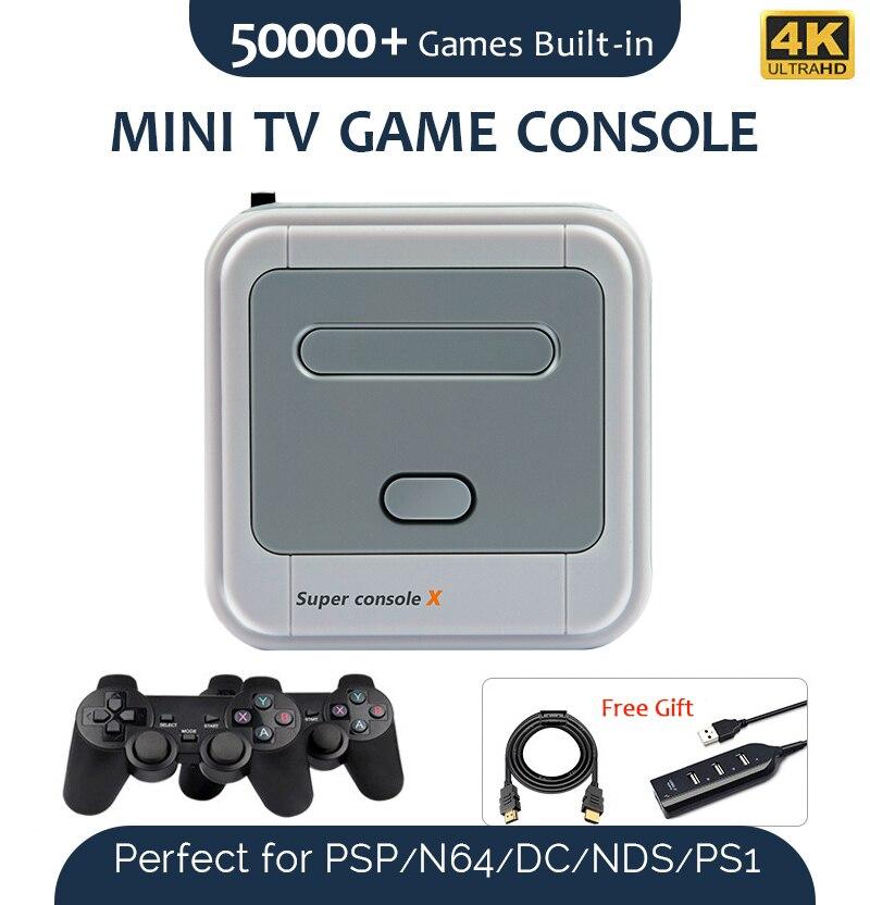 Super console x mini tv consoles de jogos de vídeo 4k hdmi saída wi-fi para ps1/n64/dc 50 + emuladores retro jogador jogo 50000 + jogos