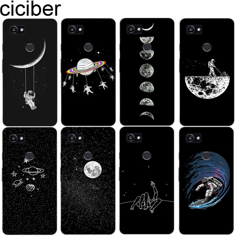 Ciciber macio tpu casos para google pixel 3 2 xl caso de telefone silicone capa traseira para pixel 3xl 2xl coque astronauta lua céu estrelado