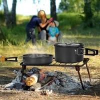 1 set outdoor camping cookware kit portable aluminum cooking pot pan kettle lightweight cookset flatware for hiking traveling