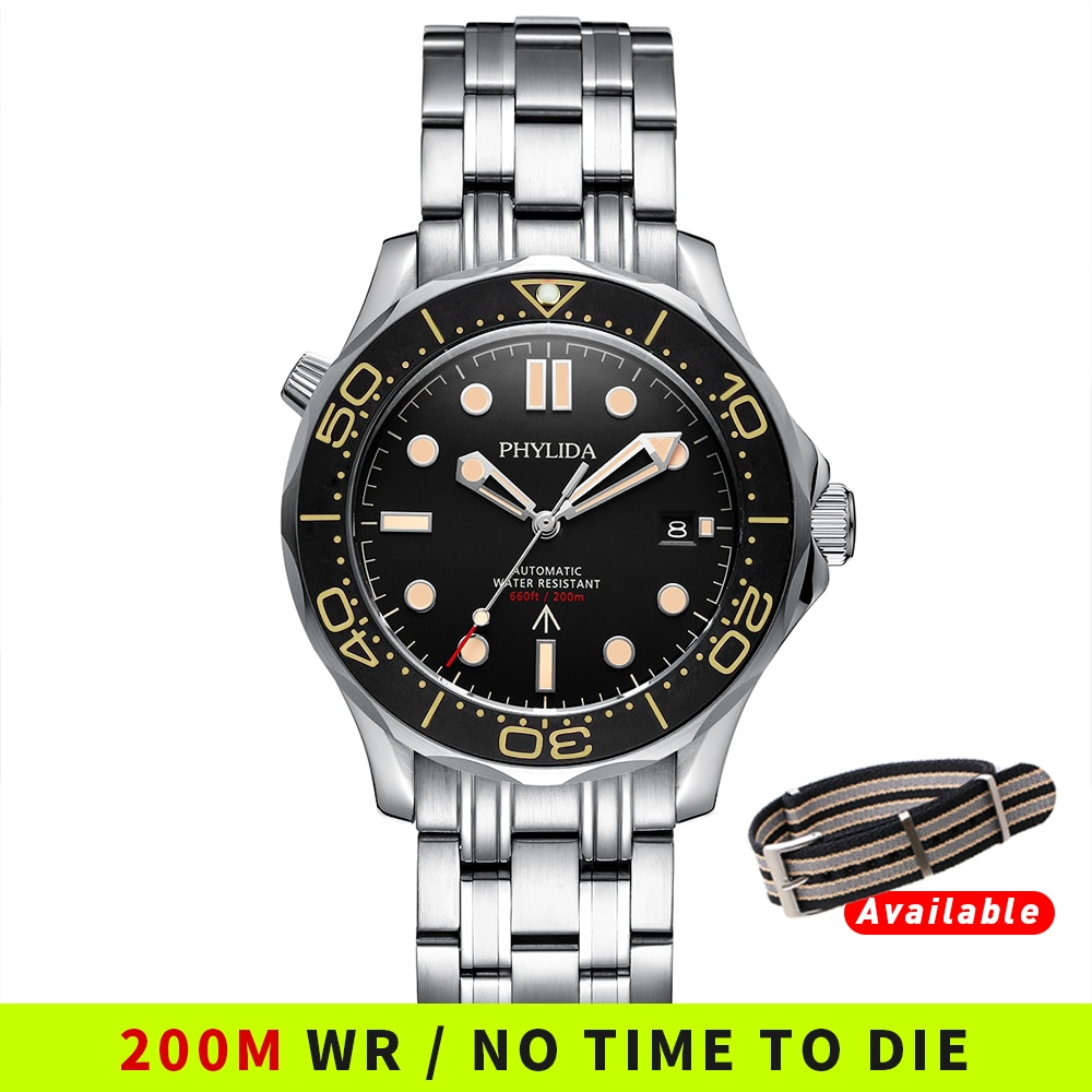 PHYLIDA Black Dial MIYOTA PT5000 Automatic Watch DIVER NTTD Style Sapphire Crystal Solid Bracelet Wa