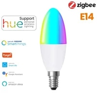 Tuya Zigbee 3 0 Intelligent E14 AMPOULES LED EN FORME DE BOUGIE Rvb   W   C Dimmable AVEC Teinte SmartThings lecho Plus Alexa Assistant A Domicile