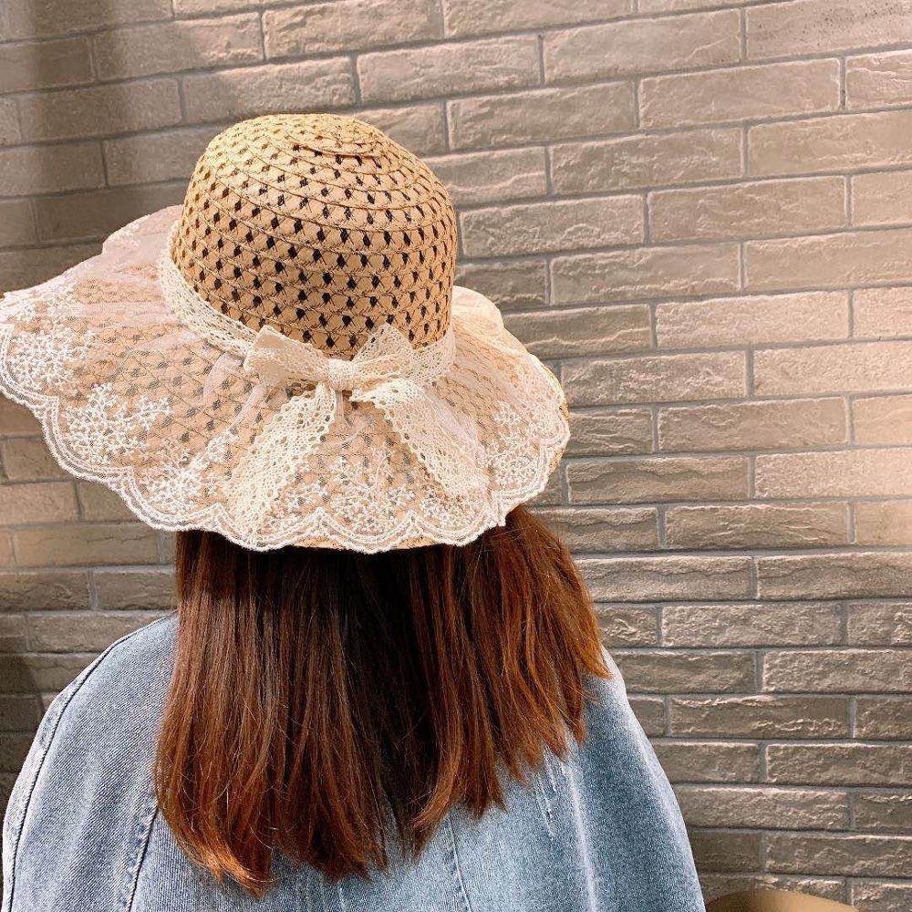 Chapeau de paille dété en dentelle pour enfant   Chapeau de soleil pour vacances en plein air, pour enfants, chapeau de plage, casquette mignonne pour filles, gorros Parent-enfant